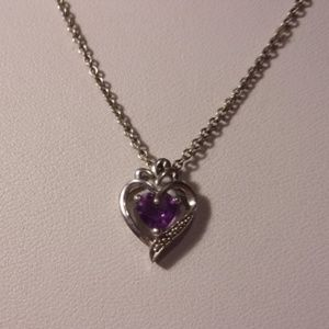 Sterling Silver Amethyst Heart Pendant Necklace